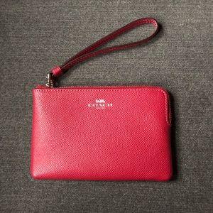 Coach Crossgrain Leather Corner Zip Wristlet
